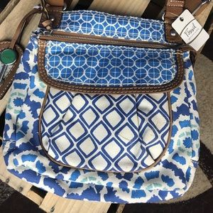 NEW Fossil Crossbody Satchel Bag Blue and Cream